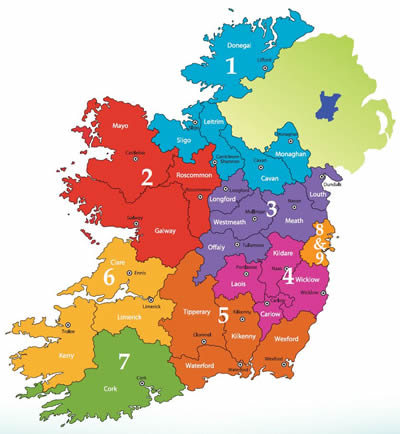 Regional Map Of Ireland.Napd National Association Of Principals And Deputy Principals